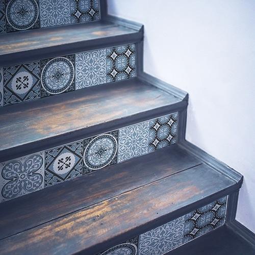Stickers bleu vert style mosaïque pour contremarches d'escalier