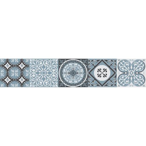 Stickers bleu vert style mosaïque pour contremarches d'escalier en bois gris