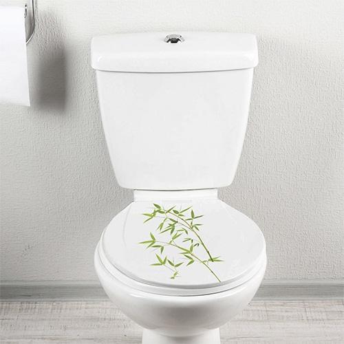 Sticker adhésif Bambous sur WC