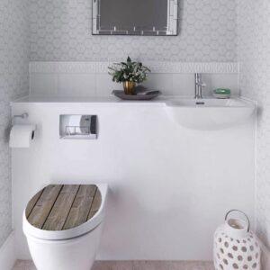 Un sticker imitation Bois pour un WC
