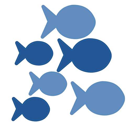 Stickers autocollants poissons bleus