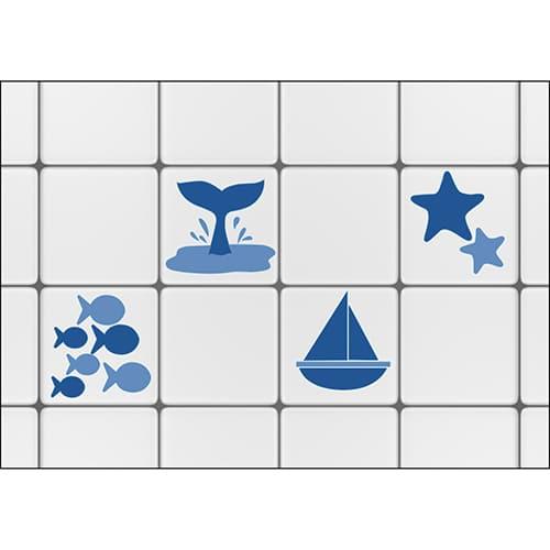 Stickers pour bateaux et poissons bleus à coller sur carrelage