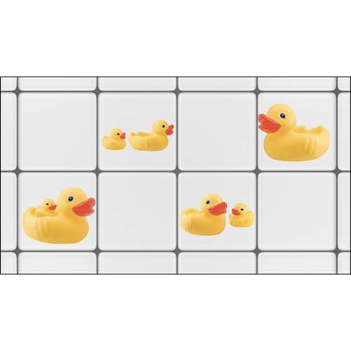 Stickers à coller sur carrelage de salle de bain Canards mis en ambiance, 4ème proposition
