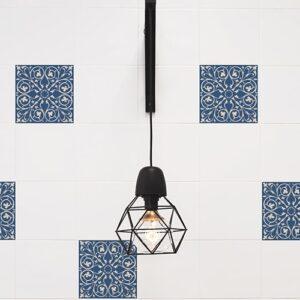 Stickers pour carrelage imitation Faux Carreaux de Cilent Bleus lampe design