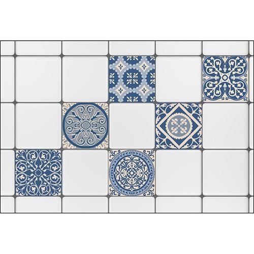 Stickers pour carrelage imitation Faux Carreaux de Cilent Bleus
