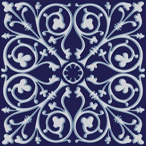 Sticker imitation carrelage Carreaux de Ciment Bleuté