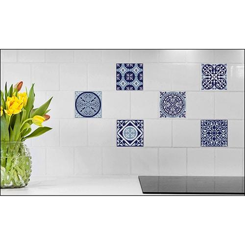Sticker imitation carrelage Carreaux de Ciment Bleuté fleur décorative