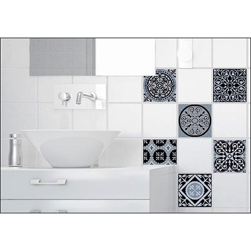 Sticker imitation Carrelage Ciment Bleu Charbon salle de bain