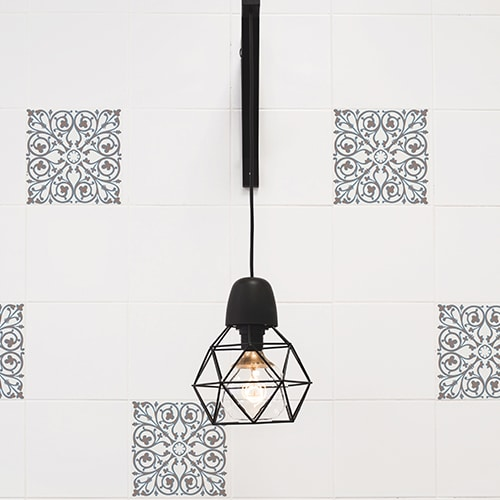 Sticker imitation Carrelage Carreaux de Ciment Grège lampe design