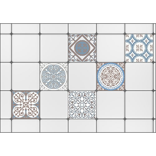 Sticker imitation Carrelage Carreaux de Ciment Grège à coller