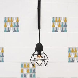 Sticker imitation Carrelage Scandinavie lampe design