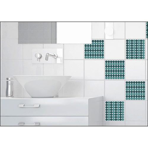 Sticker imitation Carrelage Pois salle de bain