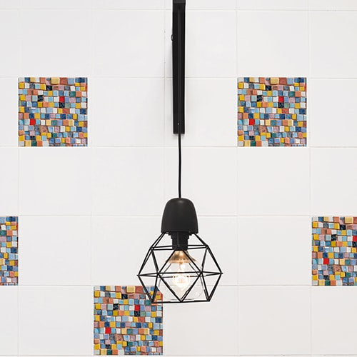 Sticker imitation Carrelage Mosaïque lampe design