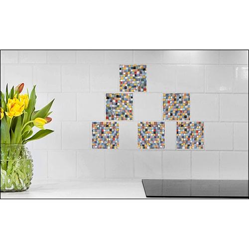 Sticker imitation Carrelage Mosaïque fleur décorative