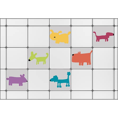 Sticker imitation Carreaux de Carrelage Funny Dogs m