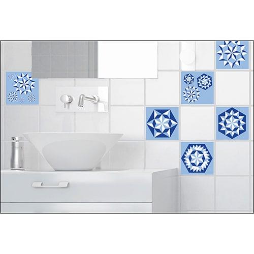 Sticker imitation Carrelage Flocons de Neige salle de bain