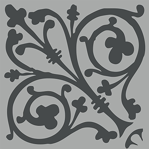 Sticker imitation Carrelage Ciment Baroque gris et noir