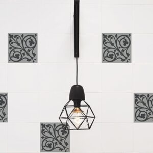 Sticker imitation Carrelage Ciment Baroque lampe design