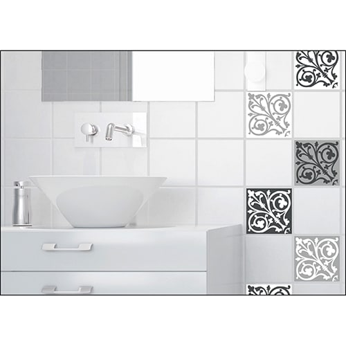 Sticker imitation Carrelage Ciment Baroque salle de bain