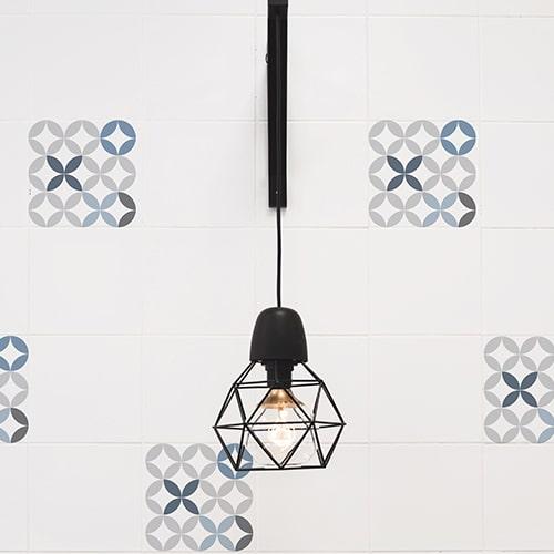 Sticker mural imitation Carrelage Céramique Bleue lampe décorative