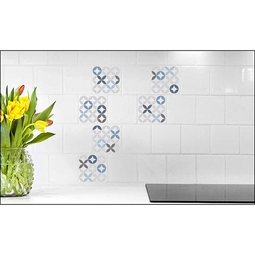 Sticker imitation Carrelage Céramique Bleue fleur décorative