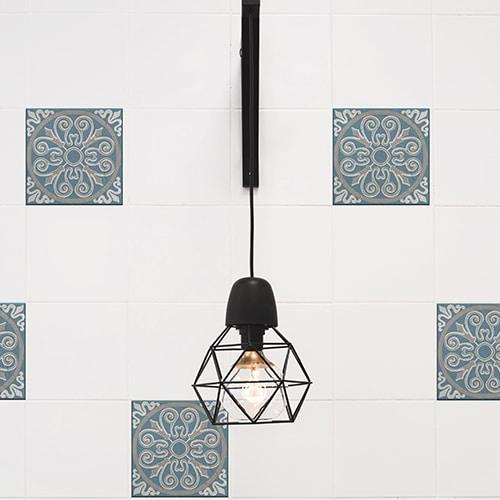 Sticker imitation Carrelage Elvas lampe design