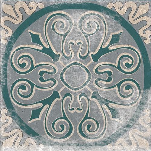 Sticker imitation Carrelage Carreaux de Ciment Bleus/Verts