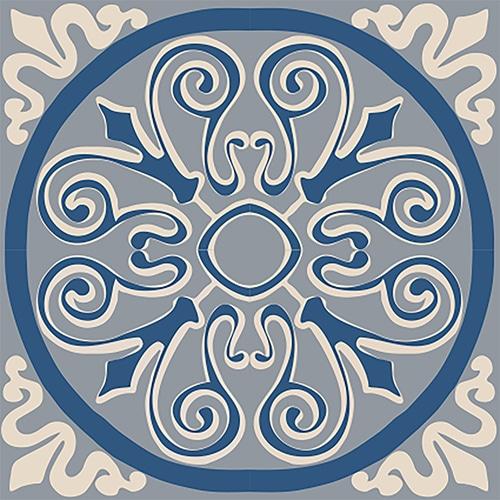 Sticker effet Carrelage Ciment Bleu