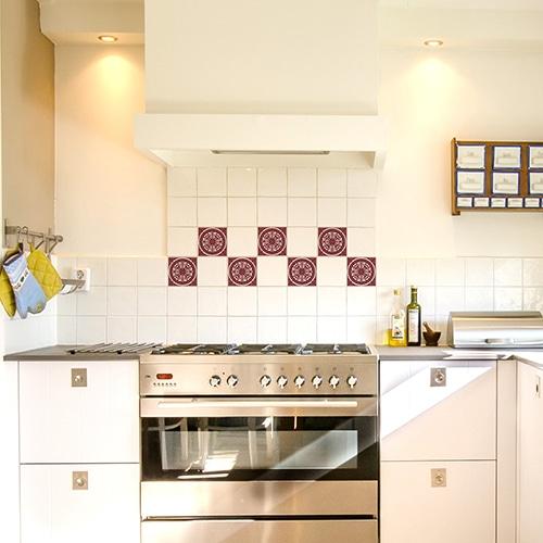 Sticker autocollant Carrelage Ciment Rouge dans une cuisine
