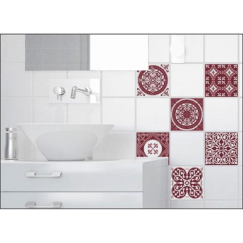 Sticker autocollant adhésif Carrelage Ciment Rouge dans une salle de bain