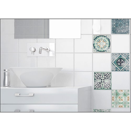 Sticker adhésif effet Carrelage Antico Evora dans une salle de bain