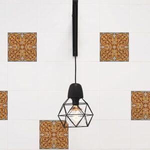 Sticker effet Carrelage Carreaux Ciment Vieillis avec lampe design