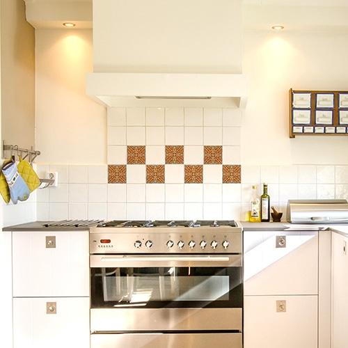 Sticker effet Carrelage Carreaux Ciment Vieillis dans une cuisine