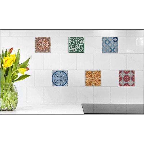 Sticker autocollant effet Carrelage Carreaux Ciment Vieillis avec fleur décorative