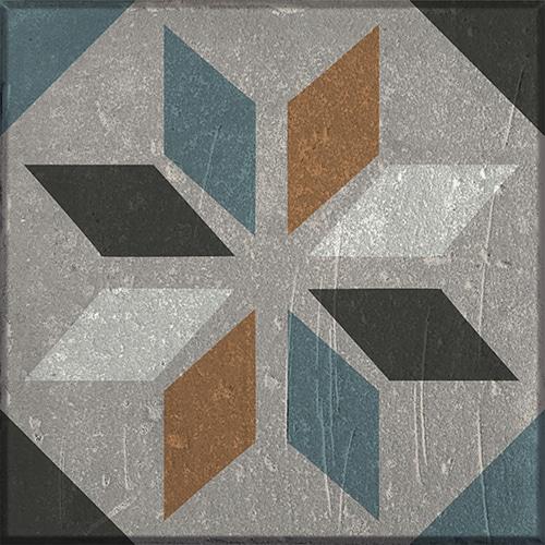 Sticker effet Carrelage Carreaux Ciment Vieillis Orange/Bleu
