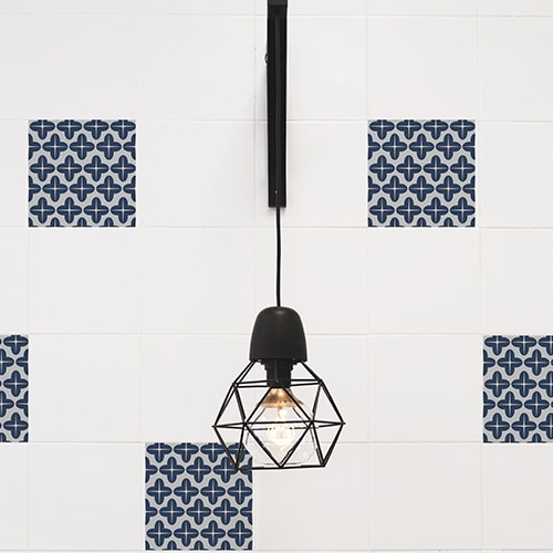 Adhésif mural imitation Carrelage Moucharabieh avec lampe design