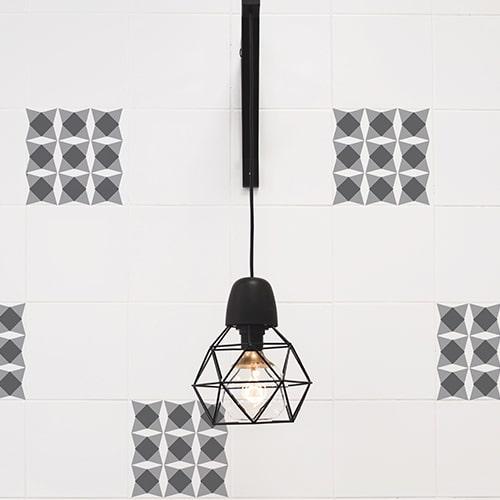 Autocollant mural imitation Carrelage Nereto avec lampe design