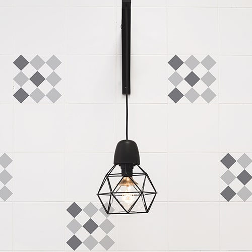 Sticker adhésif imitation Carrelage Scacchiera avec lampe design