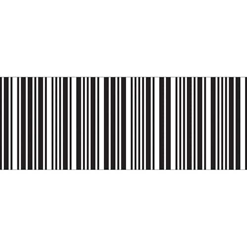 Sticker pour tête de lit Code Barre sur mur blanc au-dessus d'un lit blanc et noir