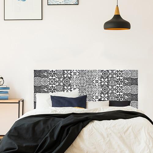 Adhésif pour tête de lit Carrelage Noir et Blanc