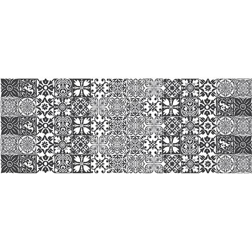 Sticker pour tête de lit Carrelage Noir et Blanc sur mur blanc au-dessus d'un lit blanc et noir
