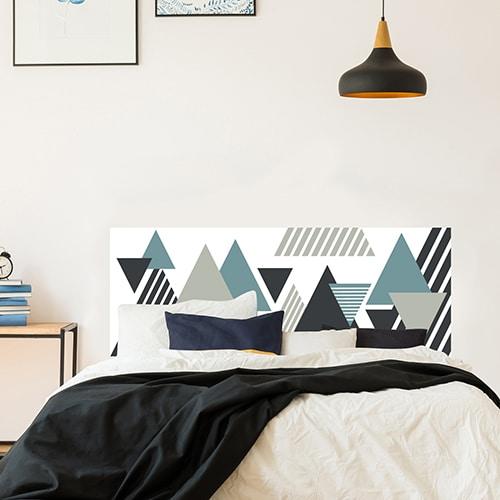 Sticker adhésif pour tête de lit Triangles Colorés noir gris bleu