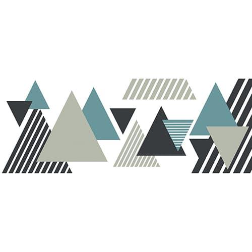 Sticker pour tête de lit Triangles Colorés sur mur blanc au-dessus d'un lit blanc et noir