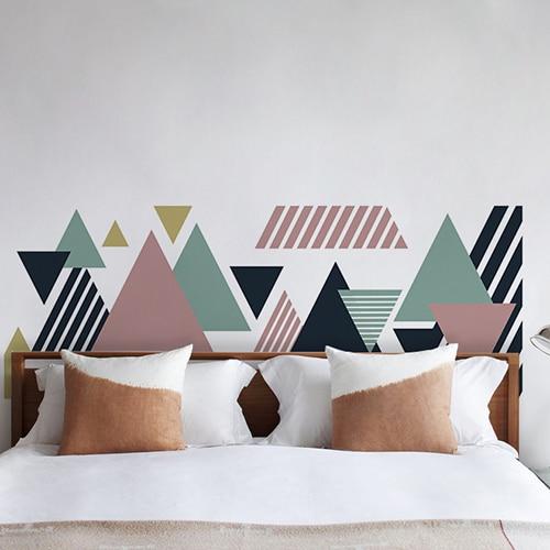 Sticker adhésif pour tête de lit Triangles Multicolores