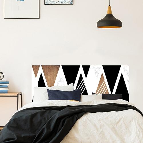 Adhésif pour tête de lit Triangles Noirs et Boisés