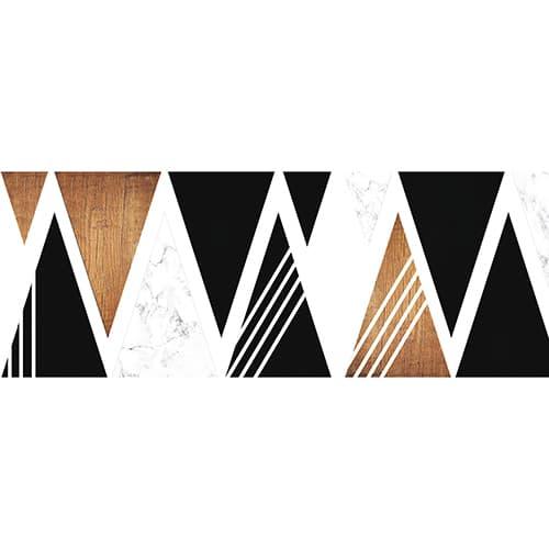 Sticker pour tête de lit Triangles Noirs et Boisés mis en ambiance sur un mur clair