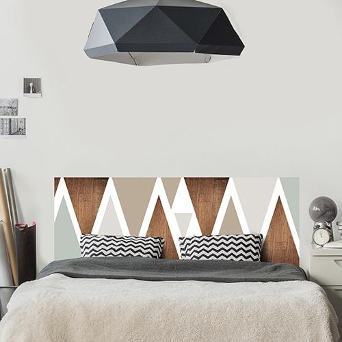 Adhésif pour tête de lit Triangles Modernes bois et creme