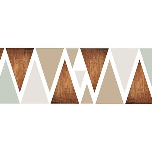 Sticker pour tête de lit Triangles Modernes mis en ambiance dans une chambre à coucher