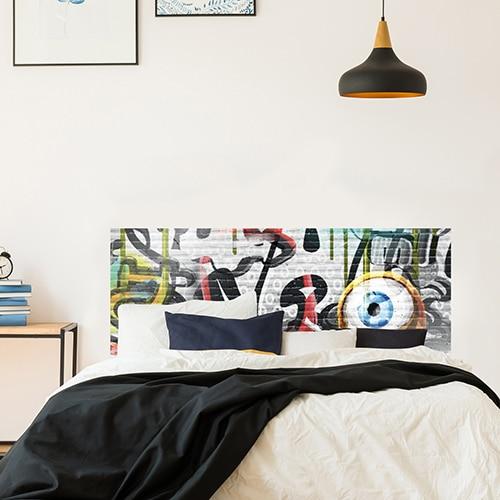 Adhésif pour tête de lit Graffiti street art Coloré