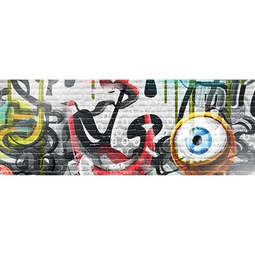 Sticker pour tête de lit Graffiti Coloré mis en ambiance dans une chambre à coucher aux murs clairs